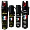Lot MIX : 4 Bombes lacrymogene GEL & GAZ - 75 et 25 ml